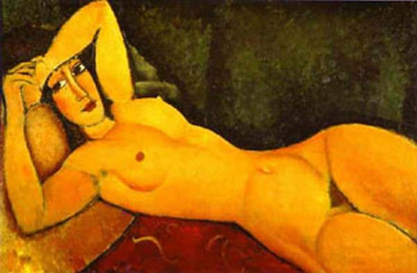 reclining nude with left arm resting on forehead 1917 XX private collection